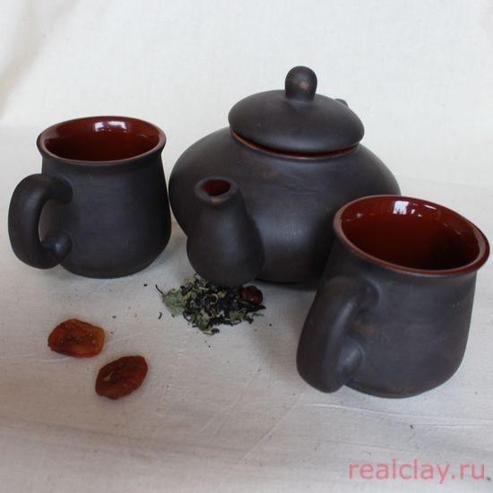 Чайник керамический с двумя чашками
