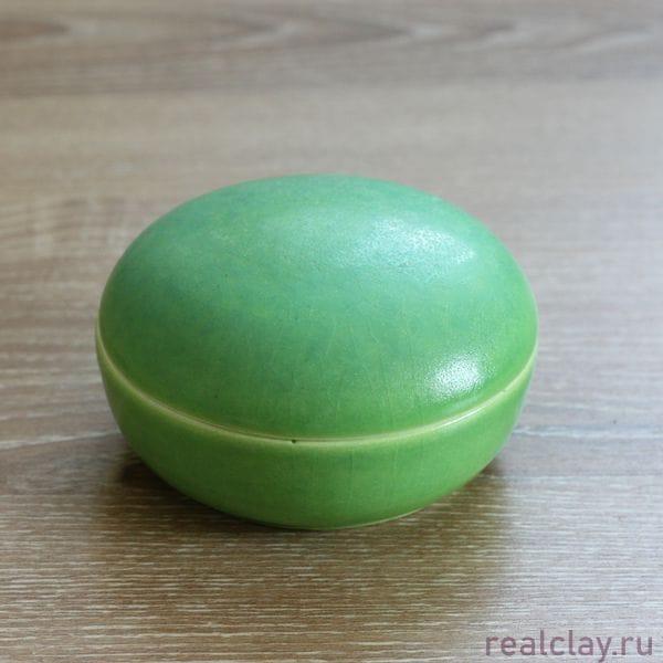Керамическая шкатулка ручной работы зеленая