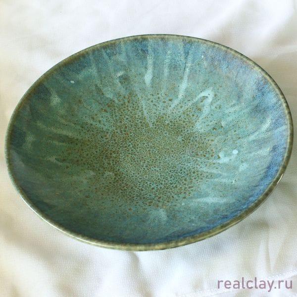 Керамическая тарелка ручной работы бирюзовая
